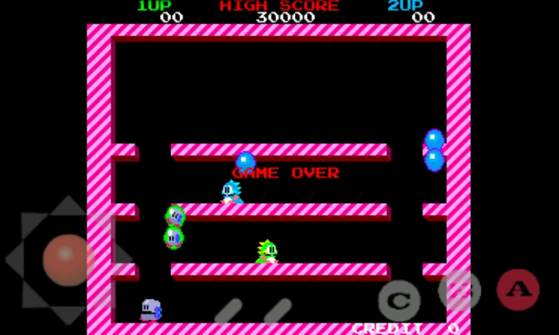 Original Bubble Bobble ROM with controls overlay running on Tiger Arcade